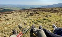Two pairs of legs on a grassy hill, long view into the distance